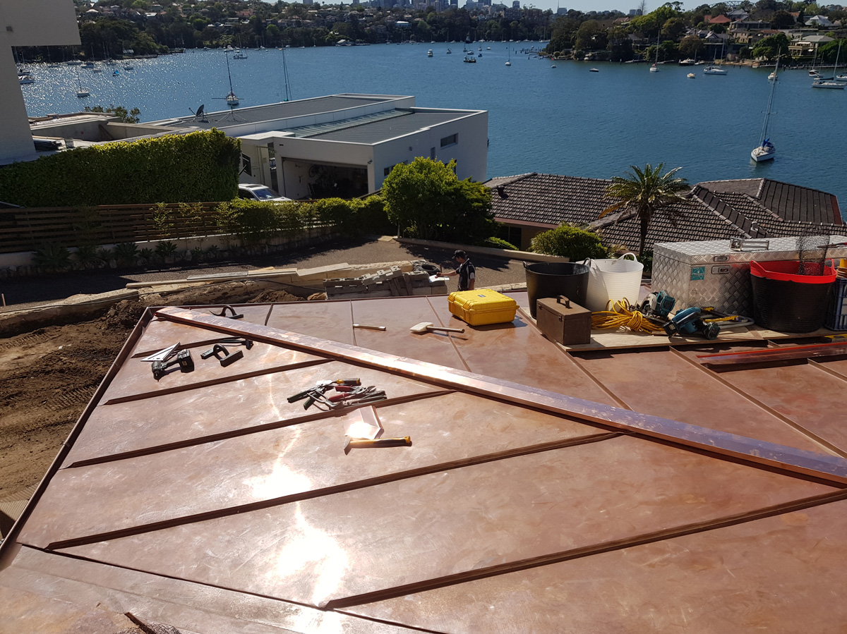 copper standing seam roofing and guttering